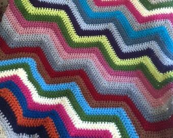 chevron zig zag ripple baby toddler blanket afghan wrap crochet wheelchair stripes VANNA WHITE yarn adult lap robe new multi colors BOHO