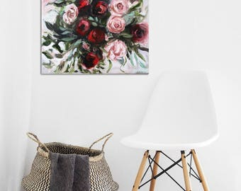 """Oil Painting Flowers Rose Abstract Art Original // """"Allure"""" 20 x 20"""" Canvas"""