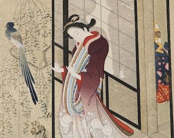 The Gay Quarters Morikiyo  Japanese Woodblock Print 1930s