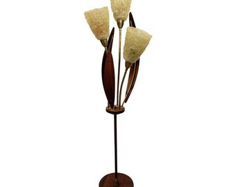 Mid-Century Danish Modern Walnut Brass Spaghetti 3-Way Floor Lamp