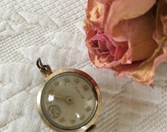 Vintage Bubble Watch Pendant.  Gold and Glass Bubble Watch Pendant.