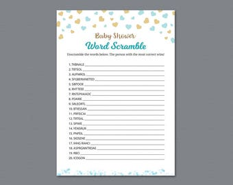 Word Scramble Game Printable, Baby Shower Games, Gold Confetti, Baby Shower Activity, Instant Download, Unscramble, Words Puzzle, B002