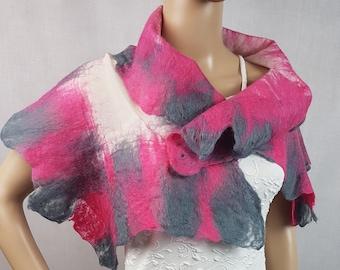 Merino wool nuno felt shawl scarf wrap pink grey white