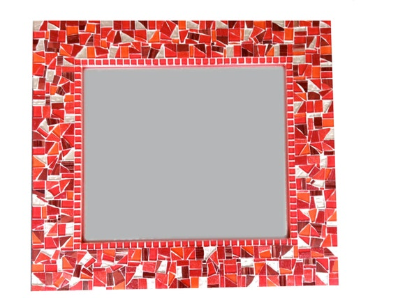 Red Mosaic Mirror Wall Mirror Red and Gold Red Home Decor