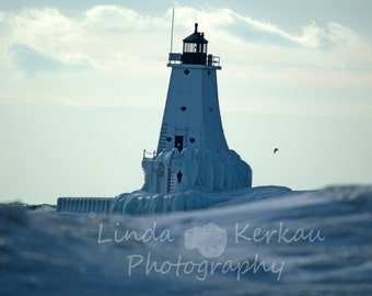 Winter at the Lighthouse in Ludington Michigan