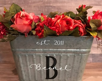 Personalized Galvanized Tubs, drink tubs, planters, aluminum gift baskets, Mother's Day Gift