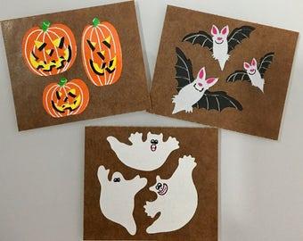 Vintage Sandylion Halloween Stickers. Pumpkins, Bats, Ghosts