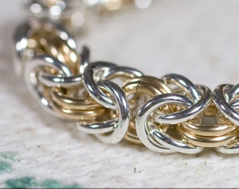 14k Gold Fill And Sterling Silver Medium 16g Byzantine Chainmaille Bracelet