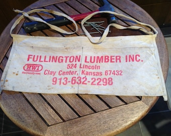 Vintage Carpenter Nail Apron, Lumber Yard Advertising