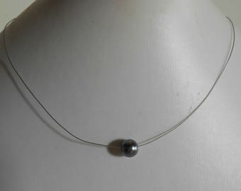 Charcoal grey solitaire Pearl bridal necklace