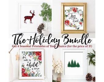 Seasonal Holiday Bundle Deal Your Choice of 4 Printable Wall Art Christmas Print Fall Decor Thanksgiving Print Halloween Print Christmas Art