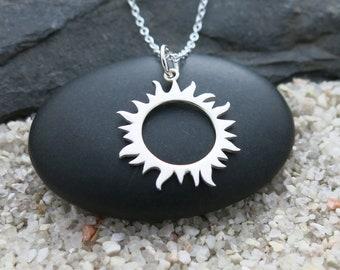 Solar Eclipse Necklace, Sterling Silver Solar Eclipse Charm, Celestial Jewelry, Sun Necklace