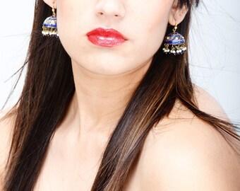 Blue Jhumka Earrings,Jaipur lac earrings,Rajasthan Pearl Jhumka earrings,Lac Gold jhumkas,Crystal Earrings,Vintage Jewelry by Taneesi