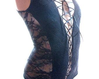 Lace Leotard - lingerie - bodysuit - lingerie onsie - sheer black bodysuit - lace up bodysuit - womens leotard - womens clothing - Recherche