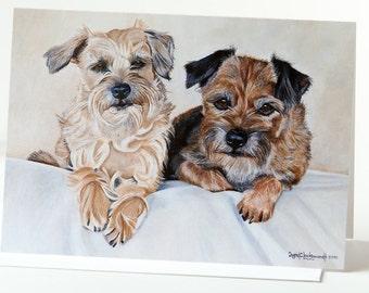 "Note Card 5 x 7"" of Original Painting ""Katie & Jake"" Award Winning Artist Ingrid Lockowandt Blank Dog Greeting Card Border Terrier"
