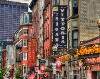Boston Photography, North End Art, Boston Prints, Hanover Street, Row House Prints,New England Art, Urban Art,Boston Gifts, Little Italy Art