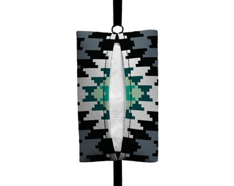 Auto Sneeze - Aztec - Visor Tissue Case/Cozy - Car Accessory Automobile - Mint Grey Black White Tribal Indian