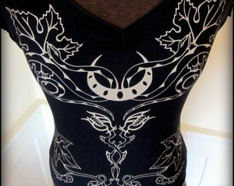 Witchy Women's Pagan goddess Shirt ~ Snakes, Vines, Crescent Moon, Nu Goth ~ Thumb Hole w/ Cold Shoulder ~  Witch Dark Fusion Belly Dance