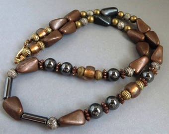 Vintage Brown Bead Necklace, Cocoa, Gold, Silver, Black Bead Tribal Necklace