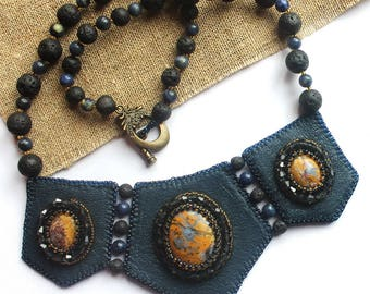 Bib necklace Gray necklace Beaded necklace Bead embroidered jewelry Jasper embroidery Necklace handmade Leather necklace Necklace with stone