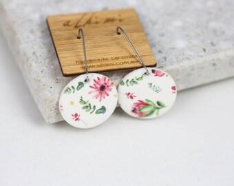NEW Porcelain Dangle Earrings - Mismatched Earrings Circle Protea -  ALKIMI - Surgical Steel Kidney Hoop Earrings - Floral Vintage