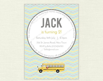 Wheels on the Bus printable invitation - New York yellow school bus, customised printable birthday party invite - IN050