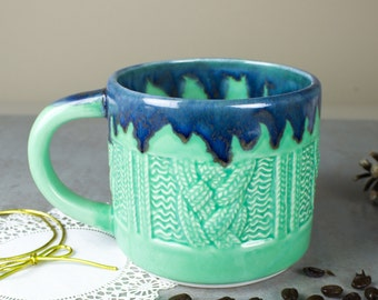 Very large handmade ceramic mug, Mint green Sweater Mug Coffee cup, knitter gift, soup mug, modern gift for all, BlueRoomPottery