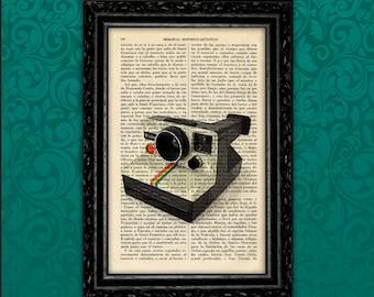 Polaroid Art Book Art Print Poster Book Art Polaroid Camera art Dorm Room Gift Print Wall Decor Poster Dictionary Print Retro Camera