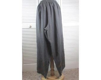 Annex Pants - Iron Gray Linen w/ Autumn Leaves XL