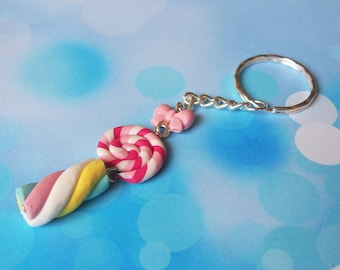 Lollipop Keychain Marshmallow Keychain ( cute keychain food keyring food keychain funky keyring polymer clay gift for her kawaii )