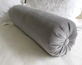 GRAY VELVET decorative Bolster Pillow 6x14 6x16 6x18 6x20 6x22