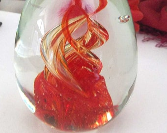 Vintage Art Glass Paperweight,  Red To Clear Spiral Murano Art Glass Bubble Paper Weight, Office Desk Accessory, Mid Century Art Glass
