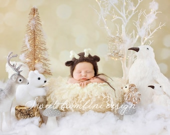Newborn Photography Digital Background - Snowy Scene 2 with Woodland Creatures