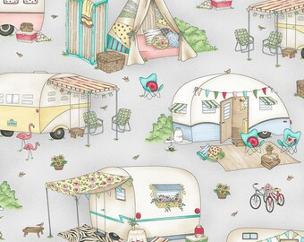 Gray Retro Camper Quilt Fabric, Travel Trailer, Glamping, RV, Maywood Studio Roam Sweet Home, MAS8220 K, Kris Lammers, Cotton