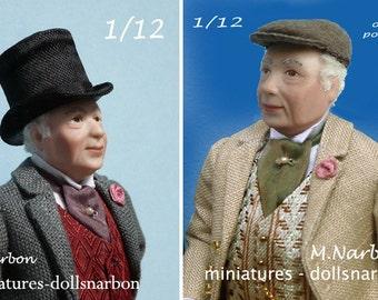 The elegant grandfather, 1:12 porcelain doll to order