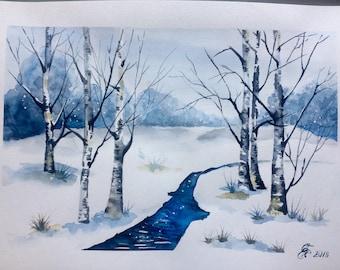 Original watercolor painting, watercolour, winter