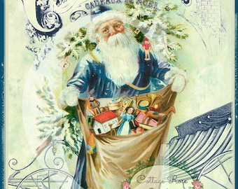 Vintage French Santa dressed in blue Christmas Gifts Large digital printable ECS buy 3 get one free