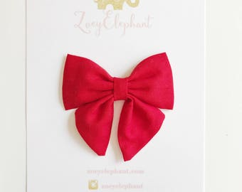 Red Sailor Bow, 4th of July Bow, Baby Headband, Fabric Bow Headband, Girl Bow Clip, Girl Headband, Newborn Headband, Red Bow, July 4th Bow