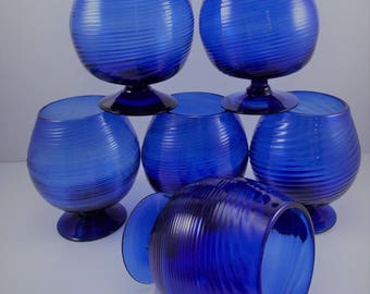 Vintage Cobalt Blue Brandy Snifter Glasses Hand Blown Set of 6
