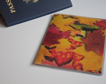 Plastic Passport Cover, Fall Leaves, Passport  Sleeve, Case, Holder