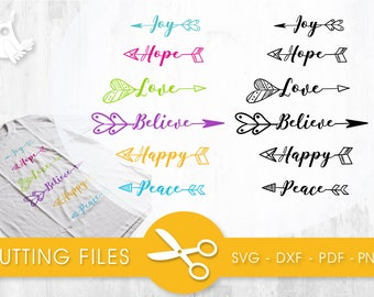 Joy Hope Love Believe Happy Peace  cutting files, svg, dxf, pdf, eps included - cut files for cricut and silhouette - Cutting Files SVG