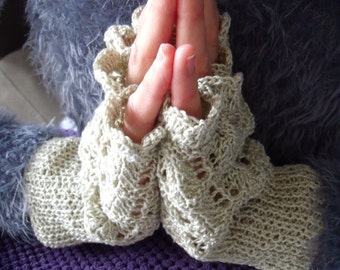 Light beige fingerless gloves in gloss cotton