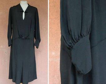 1920-1930's Black Evening  Dress - Early 1930's Drop Waist Dress - Size L #1591