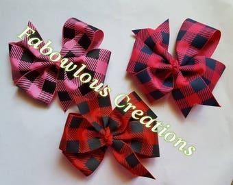 5 Inch Plaid Pinwheel Bows