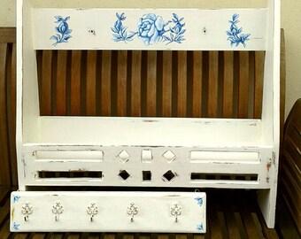 Etagères de pays Français serviette porte crochets cuisine salle de bain douche chambre peinte à la main vintage unique floral rose motifs stockage affichage