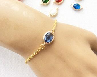 Birthstone bracelet, March birthstone, March birthday, Birthday gift, Bridesmaids gift, birthstone, Customizable Birthstone Pendant