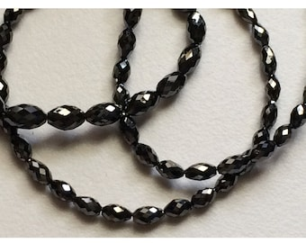 Rough Diamonds - Natural Rough Black Faceted Diamond Beads, Long Drill Drum Shape - Approx 3.5mm To 2mm Each - 7.5 CTW - 4 Inch Strand