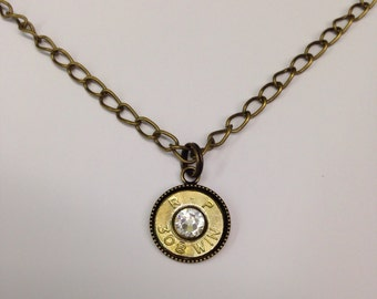 308 Bullet Ammo Casing Jewelry Birthstone Necklace