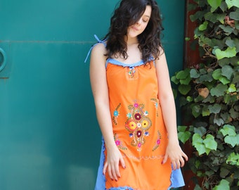 Orange and blue of a kind Hand Embroidered Mexican Spaghetti strapped dress