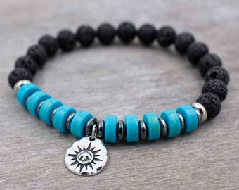 Mens wrist jewelry Mens black lava and turquoise bracelet Mens mala bracelet Mens black bracelet Energy bracelet Peace of mind & Protection